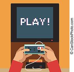 écran visuel, jeu, moniteur, retro