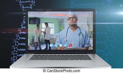 écran visuel, mâle, animation, projection, pendant, call., docteur, ordinateur portable