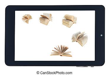 écran, voler, isolé, tablet-pc, livres, noir