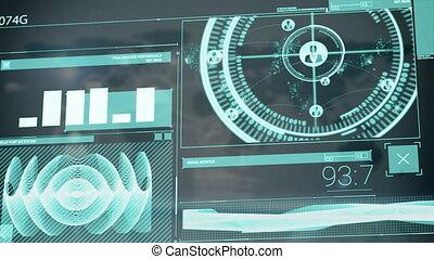 écrans, animation, numérique, interface, informatique, balayage