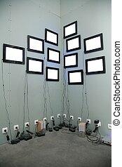 écrans, beaucoup, mur