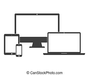 écrans, blanc, électronique, appareils, vide