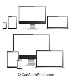 écrans, blanc, appareils