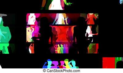 écrans, différent, fait, tout, mur, dancers., collection, ...