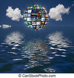 écrans, eau, multiple, reflété