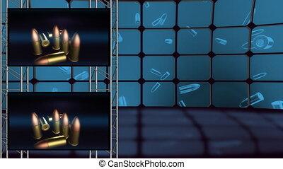 écrans, faire boucle, balle, virtuel, set2