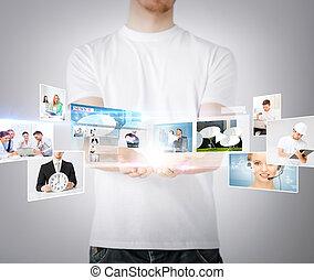 écrans, homme, virtuel, mains
