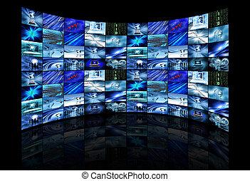 écrans, images, multi, projection, business