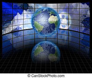 écrans, mondiale, avant