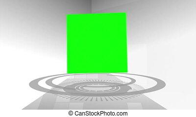 écrans, montage, cube, vert