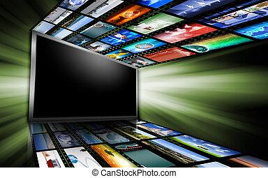 écrans ordinateur, à, images