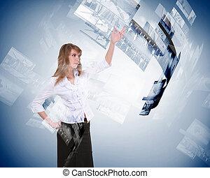 écrans, personne, business, numérique