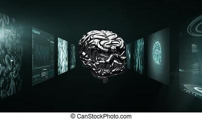 écrans, scientifique, tourner, animation, cerveau, couloir, ...