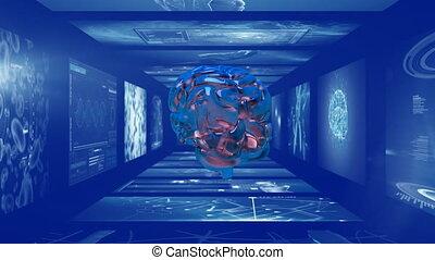écrans, tourner, cerveau, couloir, scientifique, 3d
