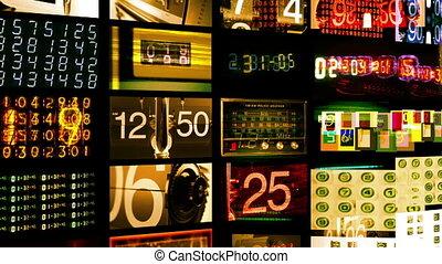 écrans, tout, créé, données, nombre, numérique, afficher, contenu, animation, temps, information., soi, hd