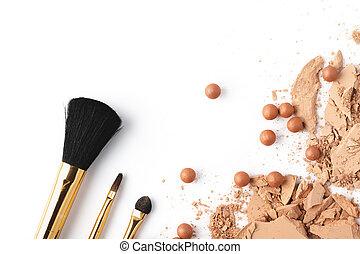 écrasé, nue, cosmétique, poudre, isolé, blanc