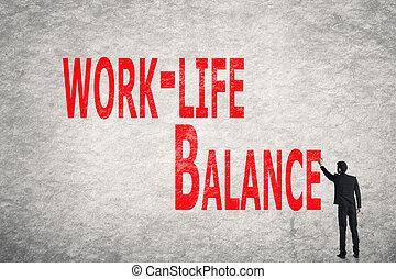 écrire, équilibre, mur, mots, work-life