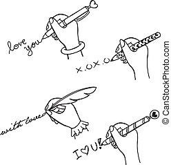 écrire, amour, main