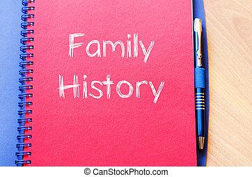écrire, cahier, famille, histoire
