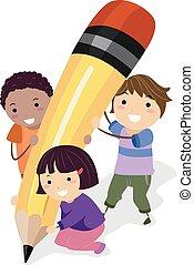 écrire, crayon, gosses, stickman, illustration