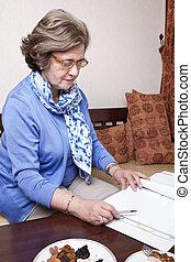 écrire, femme affaires, personne agee, sur