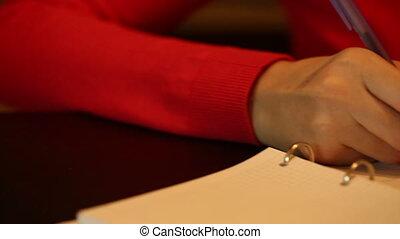 écrire, femme, quelque chose