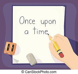 écrire, histoire, main, illustration, gosse