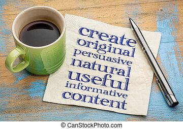 écrire, instructif, original, conctent, utile