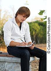 écrire, jeune, automne, cahier, dehors, homme, heureux