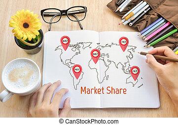 écrire, part, business, marché