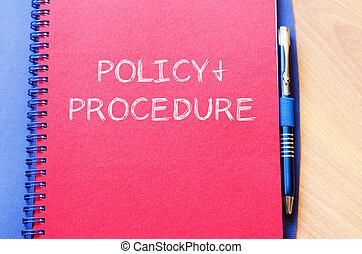 écrire, politique, cahier, procédure