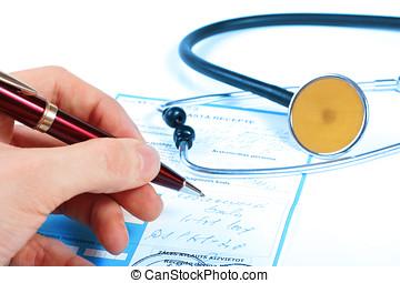 écrire, prescription, docteur