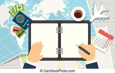 écrire, voyage mondial, cahier, mains