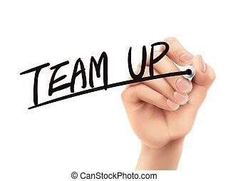 écrit, équipe, haut, main
