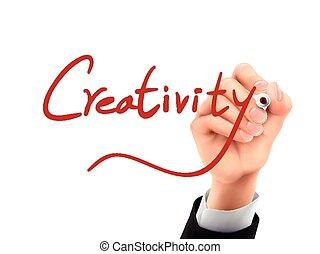 écrit, 3d, créativité, main