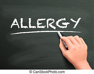 écrit, allergie, mot, main