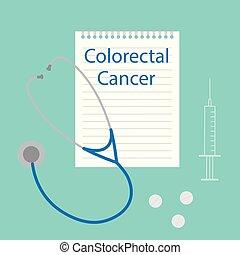 écrit, cahier, maladie, cancer, colorectal