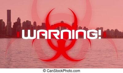 écrit, cityscape, animation, mot, danger, warning!, sur, ...