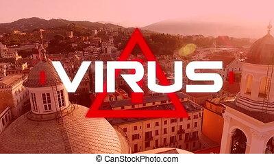 écrit, cityscape, animation, mot, virus, fond, sur, ...