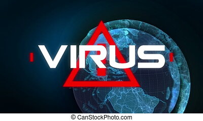 écrit, globe, ba, rotation, mot, virus, triangle, sur, ...
