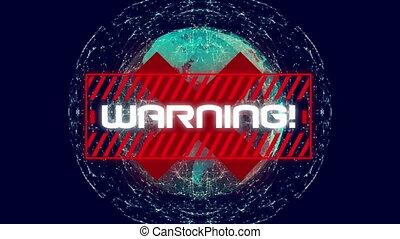 écrit, globe, rotation, mot, croix bleue, warning!, sur, ...