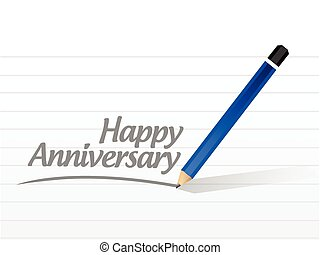 écrit, heureux, message, anniversaire