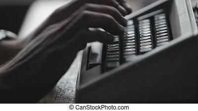 écrit, homme, lettre, machine écrire