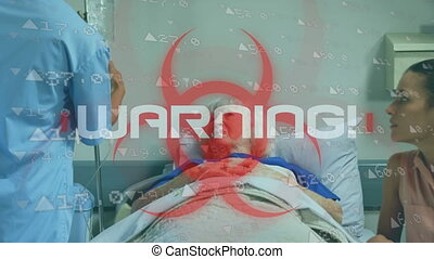 écrit, lit, covid19, personne agee, mot, danger, warning!, ...