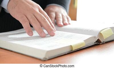 écrit, livre, notes, homme