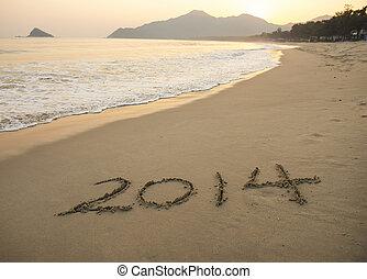 écrit, main, mer sable, année, devant, 2014, blanc