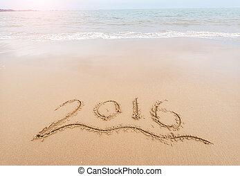 écrit, main, mer sable, année, devant, blanc, 2016