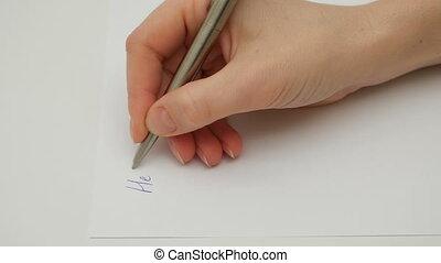 écrit, main, papier, femme, cher, mon, ami