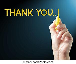 écrit, main, vous, remercier