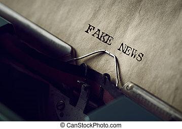 écrit, nouvelles, texte, machine écrire, faux